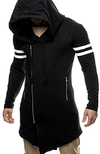 Men's Long Sleeves Assassin Asymmetrical Zipper Hoodie Sweatshirt Jacket Black (Assassin Creed Costume For Kids Cheap)