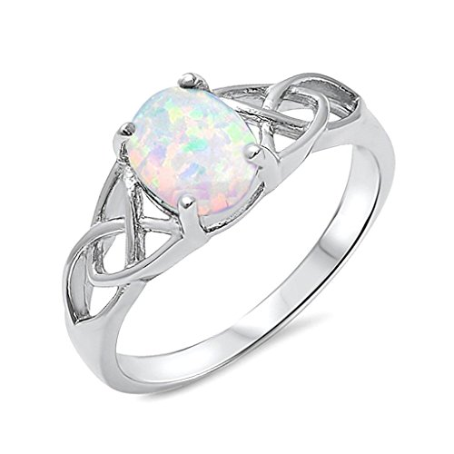 .925 Sterling Silver Lab Created Opal Celtic Design Womens Promise Fashion Ring Band Sizes 5 10