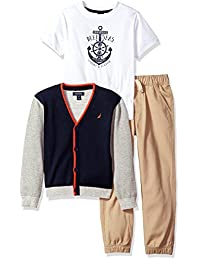 Nautica Boys' Cardigan Sweater, Tee and Twill Jogger Set