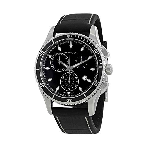 Hamilton Men's H37512731 Jazzmaster Seaview Black Chronograph Dial Watch