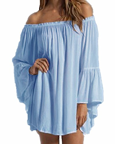 ZANZEA Women's Sexy Off Shoulder Chiffon Boho Ruffle Sleeve Blouse Mini Dress Light Blue US 14/XL (Light Blue Off The Shoulder Dress compare prices)