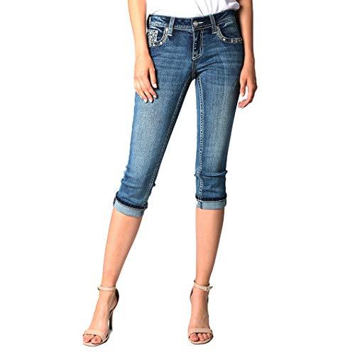 Women's Aztec Motif Embellished Capri Jeans | EC-81336 - Size 31
