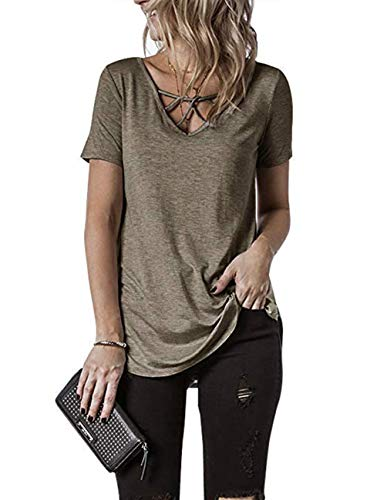 Ray-JrMALL Women Short Sleeve Jersey Cut Out V-Neck Strappy T-Shirt Top