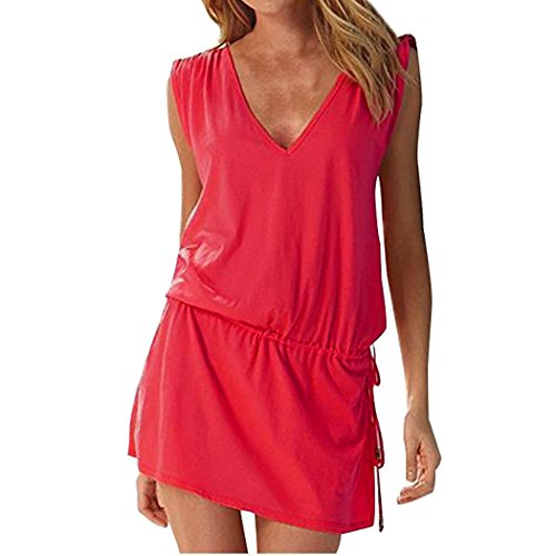 Hount Womens Summer Casual Bathing Suit Cover Up Mini Dress (Red, Medium) ()