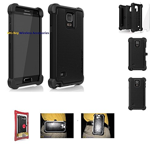 Original Oem AGF Ballistic Tough Jacket Maxx Series Heavy Duty Black Rugged Cover Case W/holster Belt Clip for Samsung Galaxy Note 4 SM-N910 Retail Packaging