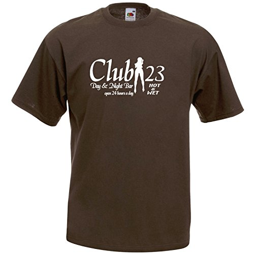 Club 23 Fun T-Shirt Braun / Druck Weiß