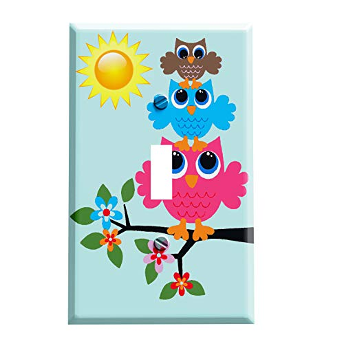 Sunny Retro Owl Stack Switchplate - Switch Plate Cover