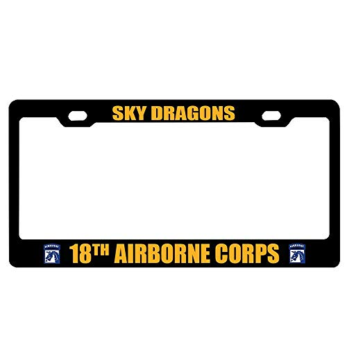 - GqutiyulUCOOL Sky Dragons 18th Airborne Corps Decorative License Plate Frame Tag,Aluminum Metal License Plate Holder,Funny Humor Car Tag Cover,2 Holes and Screws
