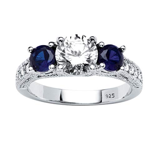 (Sterling Silver Round Cubic Zirconia and Simulated Blue Sapphire 3-Stone Bridal Ring)
