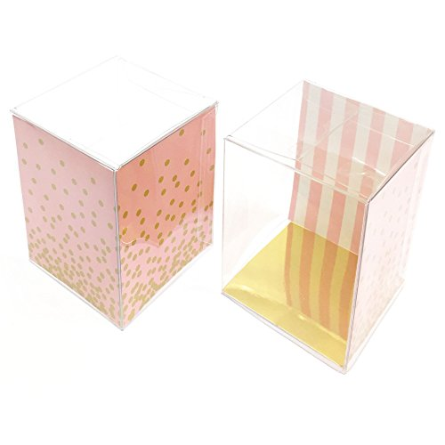 Pink and Gold Party Favors, Girl Birthday Party Supplies, 1st B-Day, Single Cup-Cake Holders, 12 Clear Plastic Boxes with Inserts, 3x3 Baby Shower Gift Box, Goodie, Surprise Treat, Cookie Packaging -