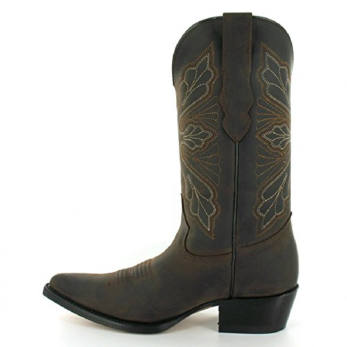 Mid Brown Leather Calf Cowboy Boots and Grinders Brown in Western Black Women's Classic Dallas aqxI7t
