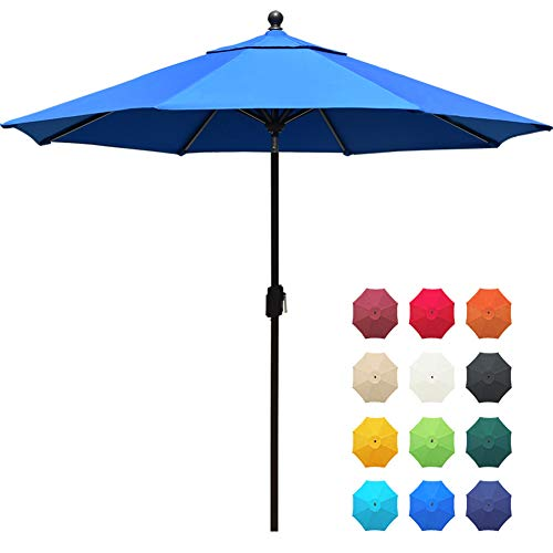 EliteShade Acrylic 9Ft Market Umbrella Patio Outdoor Table Umbrella with Ventilation and 5 Years Non-Fading Guarantee,Blue (With Umbrella Outdoor Table)