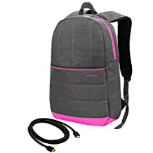 "VanGoddy Magenta Trim Light Weight Laptop Backpack for HP EliteBook / ChromeBook / ENVY / OMEN / Pavilion / Stream / 11"" to 15inch + 12ft HDMI Cord"