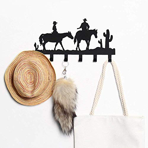 CoolPlus Coat Hooks Wall Mounted Entryway Clothes Belt Hanger and Hat Organizer Dog Leash and Key Holder Cowboy Pattern Black Finish