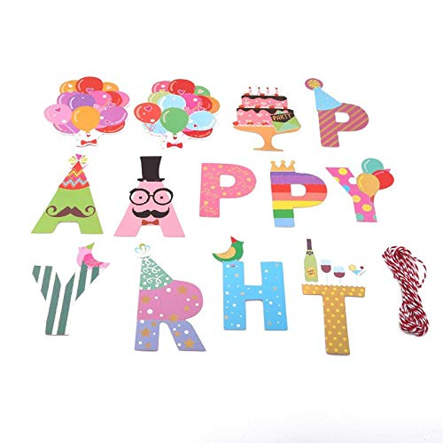 Banners, Streamers & Confetti - Beard Cartoon Birthday Hat Sets Party Decoration Flag Bunting Banner Decor Happy - Streamers Banners Streamers Confetti Birthday Balloon Hair Pubic Trimmer Banner