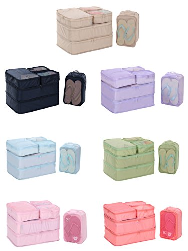 Travel Packing Organizer 6 Set, JJ POWER Packing Cubes for Travel, Clothes Bags of 3 Size and Shoe Bag included (Random Color)