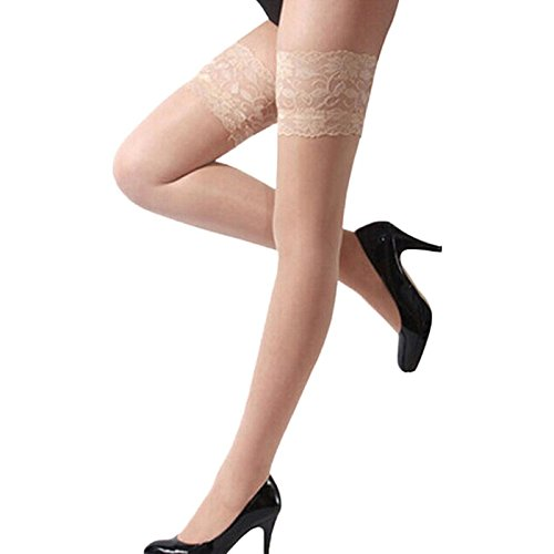 [1 Pcs.Women Ladies Sexy Lace Top Sheer Stay Up Thigh High Stockings Pantyhose (White)] (70s Costume Patterns)