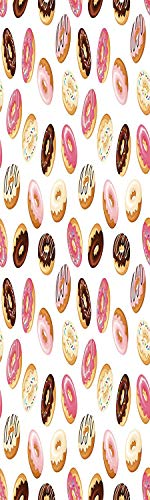 Food Decor 3D Decorative Film Privacy Window Film No Glue,Frosted Film Decorative,American South Calssic Police Breakfast Fast Food Dessert Donuts Art Print,for Home&Office,23.6x59Inch Multicolor ()