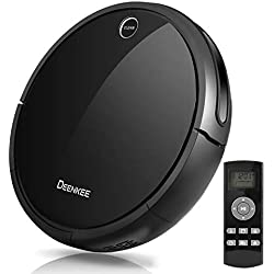 Robot Vacuum Cleaner, Deenkee Self-Charging High Suction Automatic Vacuum Cleaner with Mop and Water Tank Attachment, Super Quiet for Cleaning Carpet and Hardwood Floor (Black)