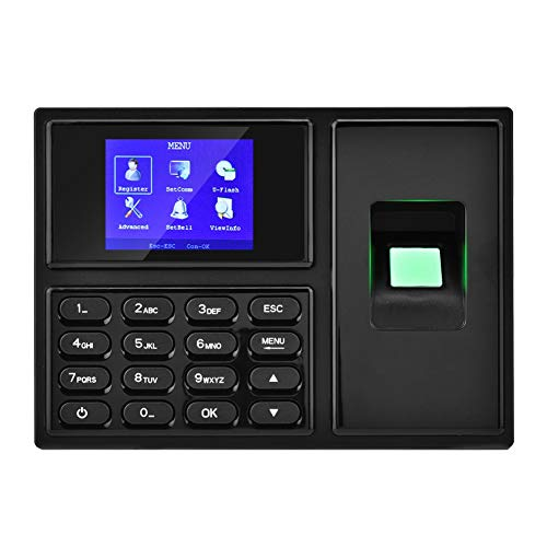 ASHATA Fingerprint Time Attendance, 2.4 Inch HD LCD Biometric Fingerprint Time Attendance Recorder,Staff Check in Recorder Presence Watch System Machine (Black)