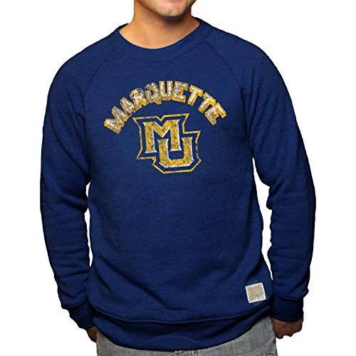 Original Retro Brand Marquette Golden Eagles Vault Logo Tri-Blend Crewneck Sweatshirt - Navy, Small