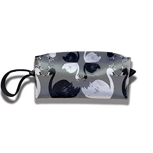 Cosmetic Bags With Zipper Makeup Bag White And Black Swan Middle Wallet Hangbag Wristlet Holder -