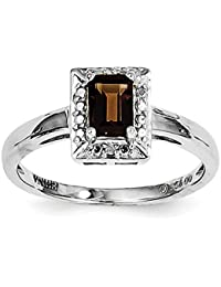 Solid 925 Sterling Silver Brown Smoky Simulated Quartz Diamond Ring (2mm)
