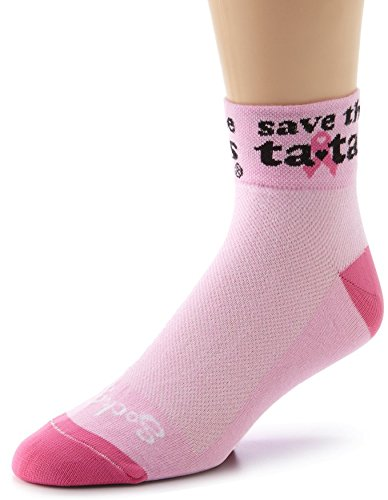 "Sockguy 2"" Classic Socks, 1/4 Crew, Save the Tatas Pink, ..."