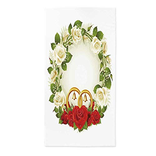 (Wedding Decorations Waterproof Tablecloth,Frame with White and Red Roses and Stylized Wedding Rings Romance for Dining Table Tea Table Desk Secretaire,24''W X 48''L)