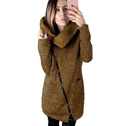VES Manteau Hiver Chaud de Couleur Femme Wolfleague Manteau Shirt Long Glissire Sweat Caf Pure Longue qSfpPpxOwE