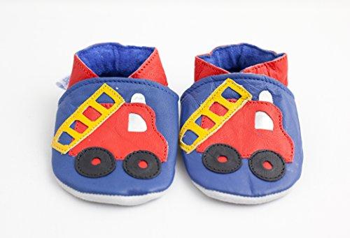Weiche Leder-Babyschuhe Feuerwehrauto, mehrfarbig - blau und rot - Größe: 6-12 Monate