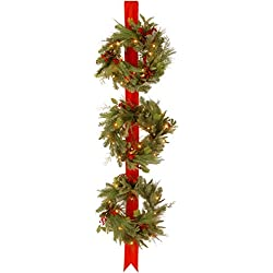 "Prugist Illuminati Collection Decorative Collection Triple Wreath Door Hang with 3 18"" Wreaths,Each with 50 Clear s-UL-77 Ribbon Height"