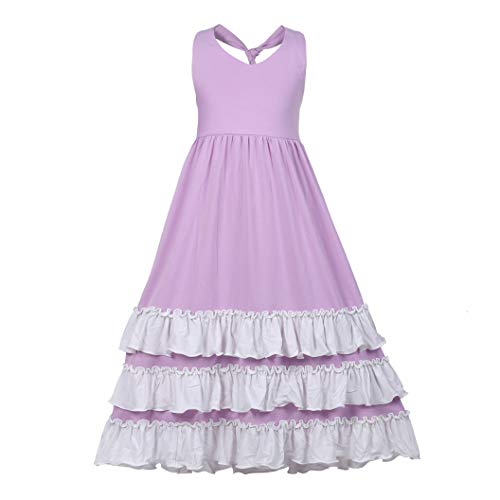 Girls Ruffles Maxi Dress Pink Color Halter Lace Fly Sleeve Cotton Party Dress Skirts (Backless Purple, 4T)