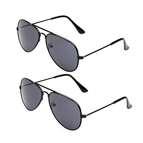 WODISON Classic Kids Aviator Sunglasses Bulk Reflective Metal Frame Children Eyeglass 2 Pack