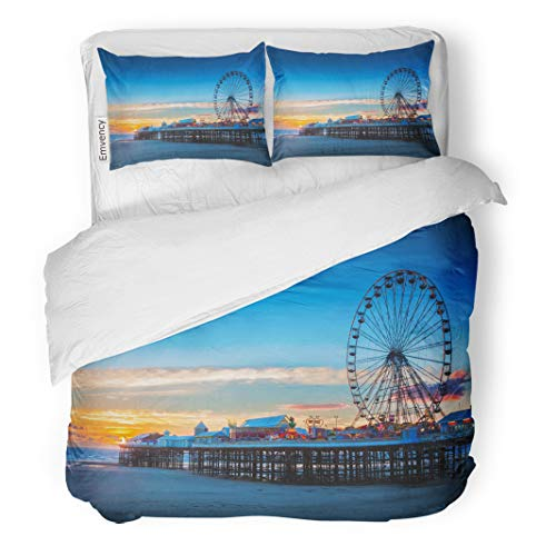 Semtomn Decor Duvet Cover Set King Size Blue Park Blackpool Central Pier and Ferris Wheel Lancashire UK Colorful Carnival 3 Piece Brushed Microfiber Fabric Print Bedding Set Cover