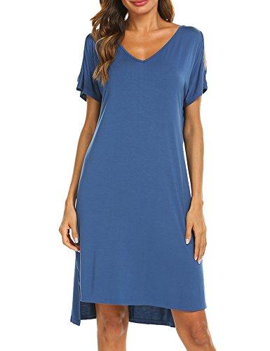 Ekouaer Women's Nightshirt Solid Sleepwear Casual Nightgown Loose Fit Sleep Dress(Blue/L)