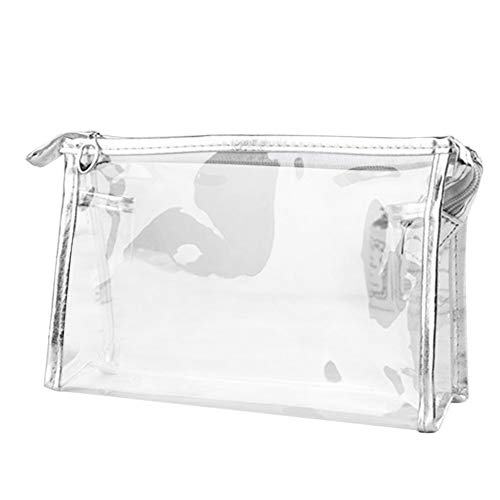 - Peacurდ•დ Zipper Purse Bag, Clear Transparent Plastic PVC Travel Cosmetic Make Up Toiletry Bag (Silver)
