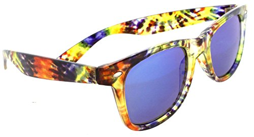Classic Retro Wayfarer Non Polarized Sunglasses 80s Casual UV400 (Tie Dye, Blue)