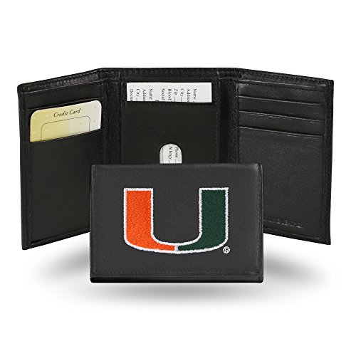 Ncaa Miami Hurricanes Canes - Rico Industries NCAA Miami Hurricanes Embroidered Leather Trifold Wallet