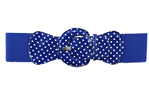 TFJ Women Fashion Blue Belt Elastic Hip Waist Stretch Plus M L Xl White Polka Dots