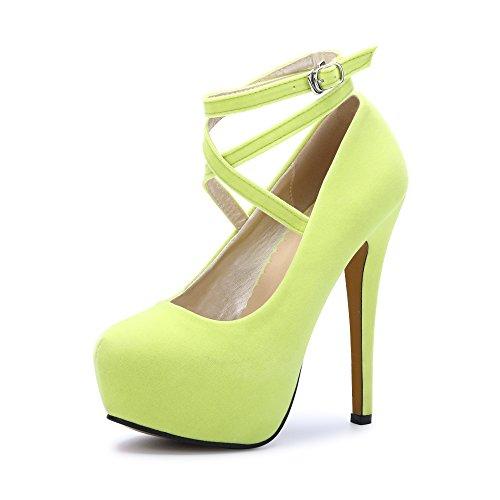 Epais Club Aiguille Sexy Femme Bride Chaussures Talon Jaune Fermeture Plateforme Ochenta Cheville Escarpins Fluorescence Soiree Lacets 7Rgq78