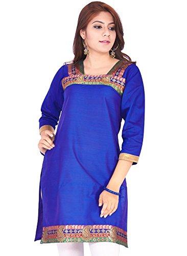 IndusDiva Women's Blue Silk Cotton Straight Cut Kurti
