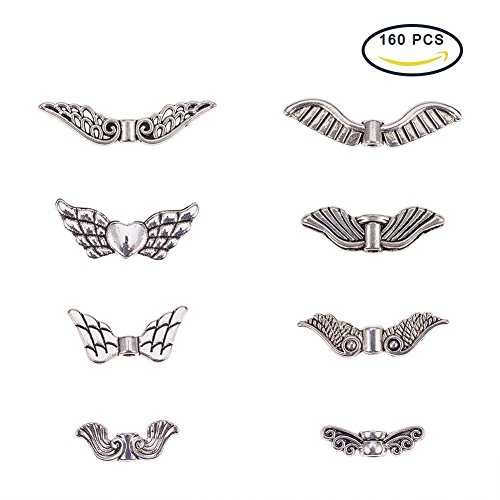 PandaHall Elite Vintage Assorted Tibetan Antique Silver Plated Wing Charm Beads Spacer Jewelry Findings Parts 160 pcs With Container (Wings Charm Bead)