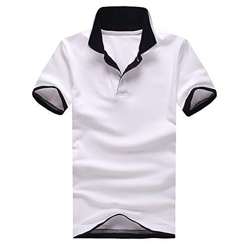 LAYORE ポロシャツ メンズ Tシャツ 二重衿 半袖 無地 重ね着風 ゴルフウェア トップス カジュアル コーデ 春 夏 秋 メンズファッション