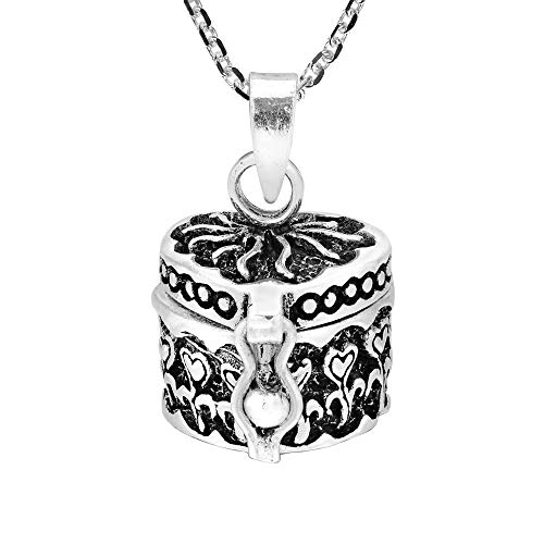 AeraVida Stunning Heart Accented Cylindrical Prayer Box .925 Sterling Silver Necklace