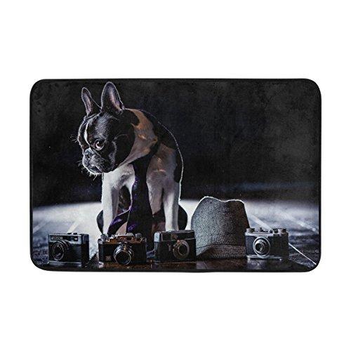 (Jnseff Bulldog Costume Cameras Shadow Tie Dog Doormat Indoor Outdoor Entrance Floor Mat Bathroom 23.6 X 15.7 Inch)