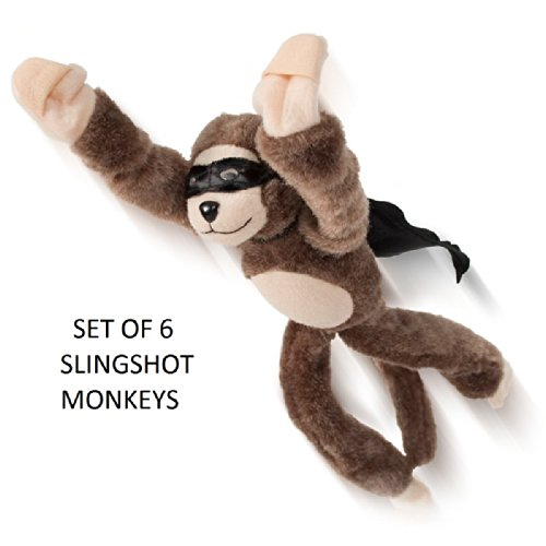 Set Of 6 -Flying Flingshot Slingshot Monkeys by Playmaker Toys