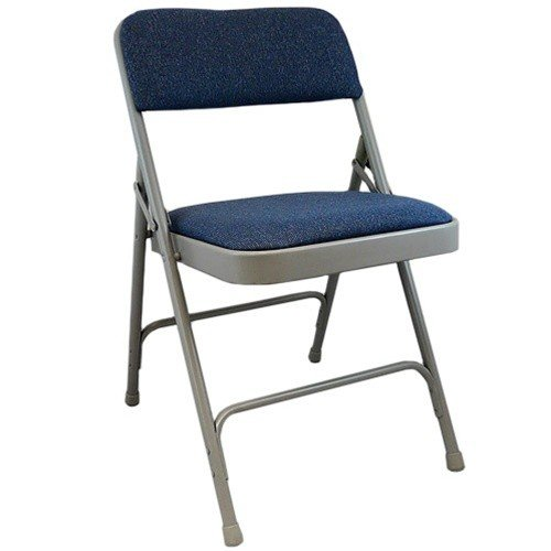 Gray Padded Metal Folding Chair - Navy Blue 1-in Fabric Seat (4 pack) by Advantage