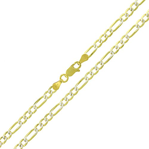 Elite Anti-Tarnish - 3.5mm Figaro Link - Patented ITProLux - 925 Sterling Silver - Diamond-Cut Pave - 14K Yellow Gold - Solid Necklace Chain - Made In Italy - 16