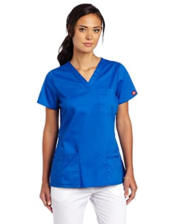 Dickies Women's Scrubs Gen Flex Junior Fit Solid Stitch V-Neck Top, Royal, XX-Small